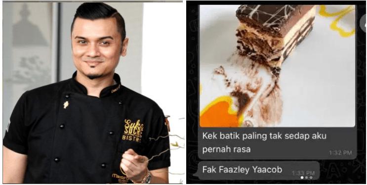 'Kek Paling Tak Sedap! ' Kek Di Kecam Teruk Oleh Influencer, Fazley Yaakob Tetap Bersangka Baik.