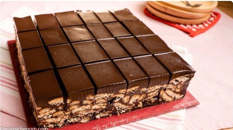 Resepi Kek Batik Marie Dengan Topping Coklat Ganache