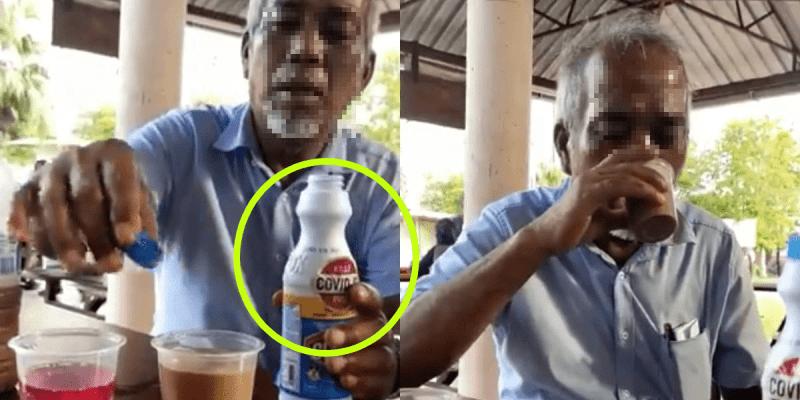[VIDEO] Biar Betul?! Minum Teh Campur Clorox, Pak Cik Ini 'Dakwa' Mampu Bunuh COVID-19 Dalam Badan