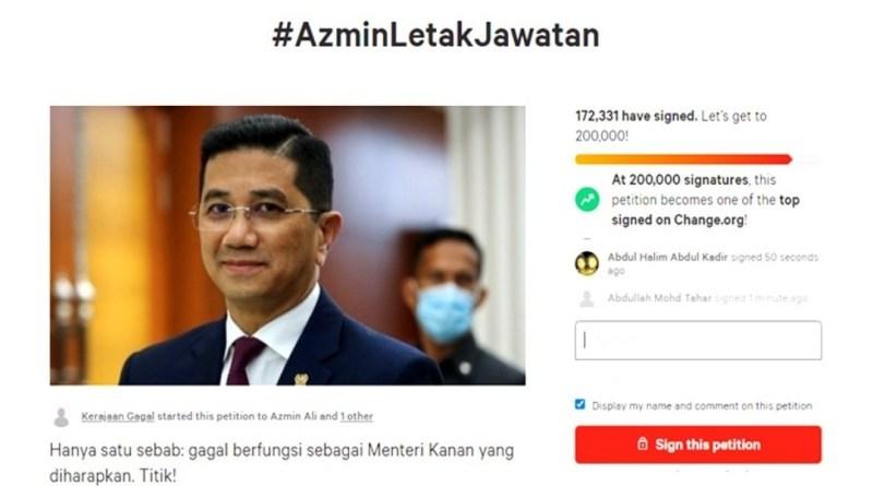 Petisyen desak Azmin letak jawatan raih lebih 170,000 tandatangan