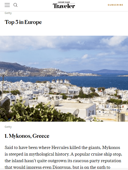 Mykonos wins award as the best island in Europe for 2018 at Readers Choice Awards