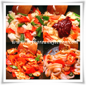 calamary on rice cooking process