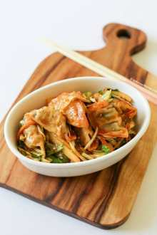 Sweet and Spicy Korean Dumpling Salad (Bibim Mandu) | MyKoreanKitchen.com