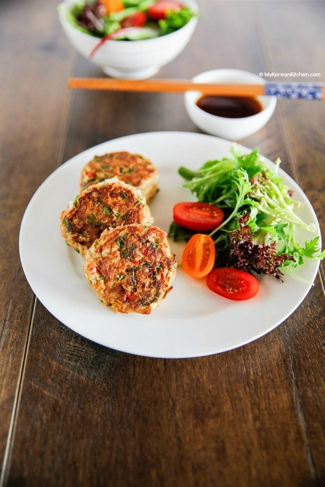 Korean style tuna cakes are particularly popular among kids. It will make a great snack or banchan (side dishes) in their lunch box!| MyKoreanKitchen.com