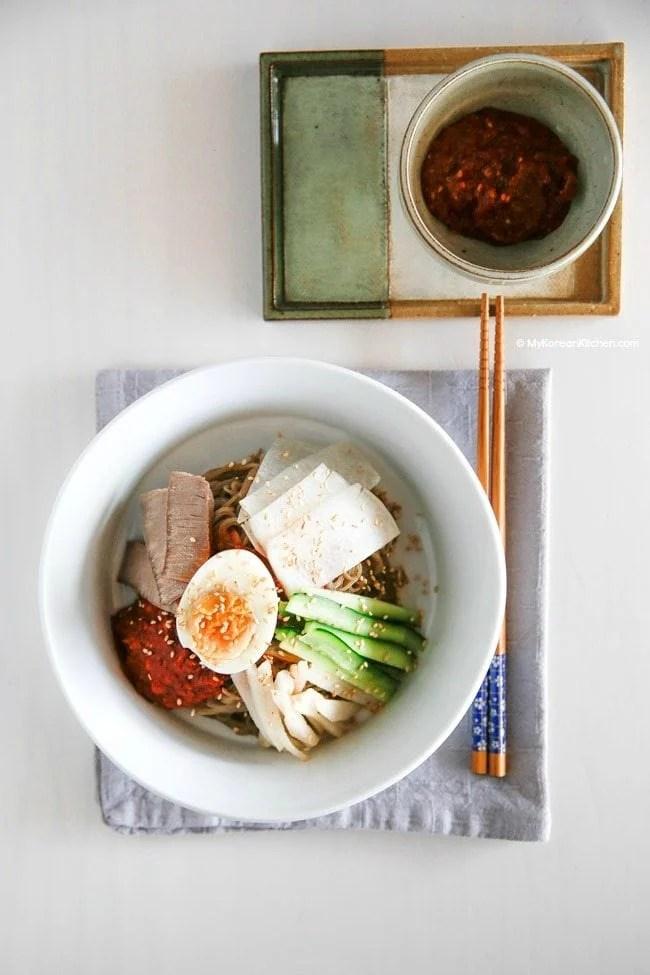 Bibim Naengmyeon (Korean Spicy Cold Noodles) | MyKoreanKitchen.com