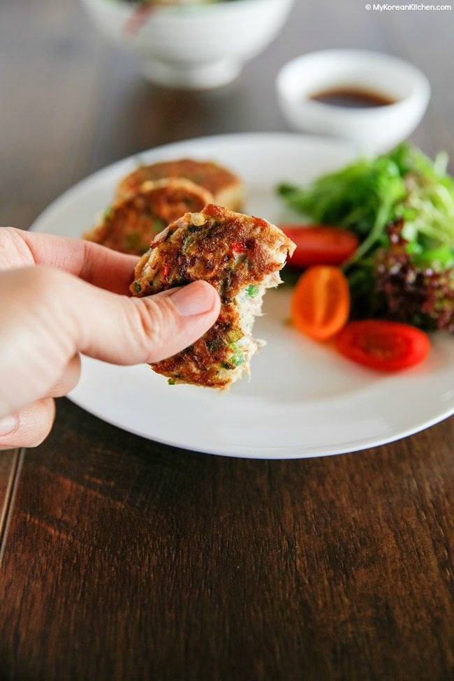 Easy and delicious Korean style tuna cakes | MyKoreanKitchen.com
