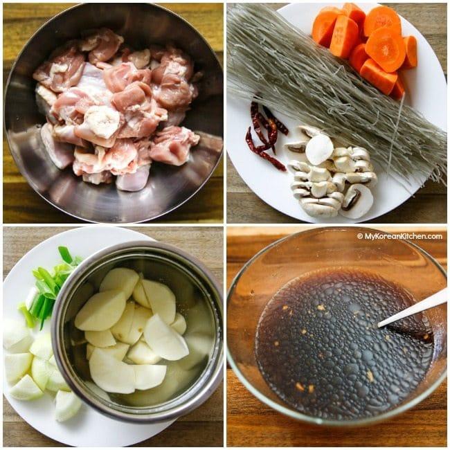 Jjimdak (Korean Braised Chicken) Ingredients