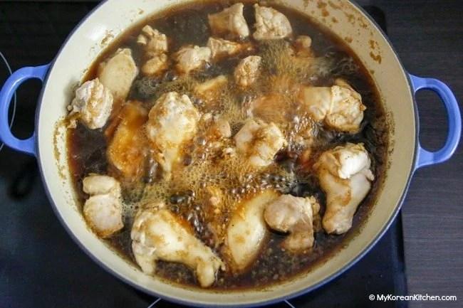 Jjimdak- Braising chicken in soy based sauce