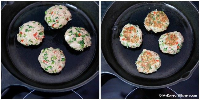 Cooking Korean style tuna cakes