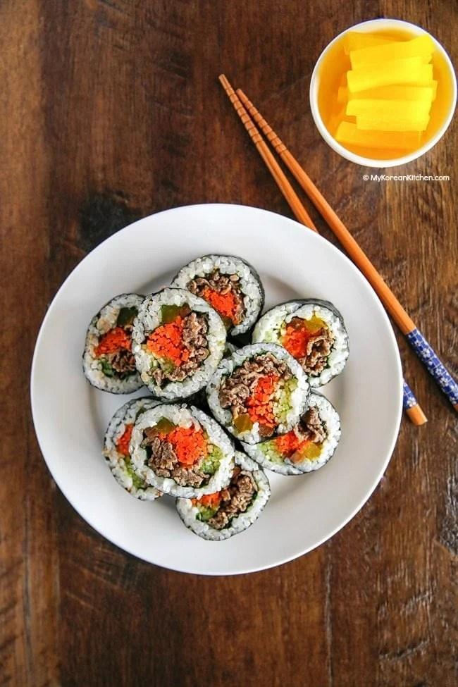 Bulgogi Kimbap (Bulgogi Seaweed Rice Rolls). It's full of healthy and savoury flavour!   MyKoreanKitchen.com