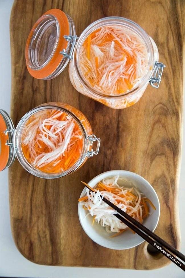 Quick pickled carrots and daikon radish | MyKoreanKitchen.com