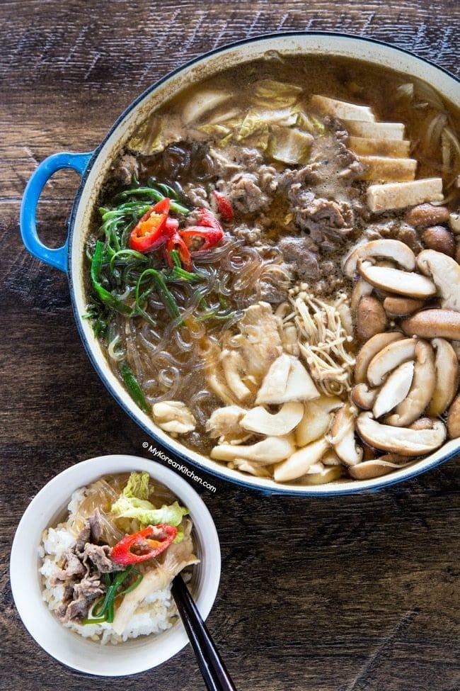 Bulgogi hot pot with steamed rice