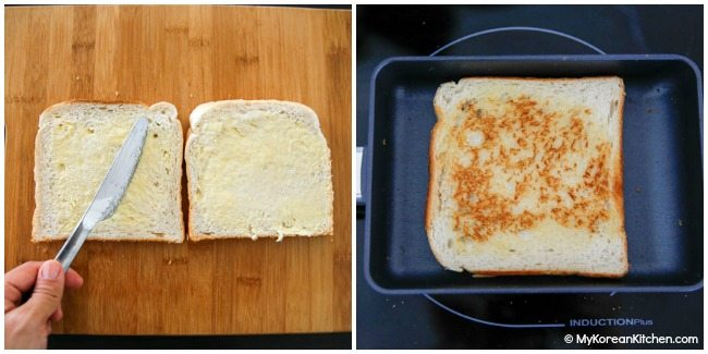 Toasting bread on a pan