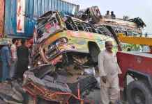 30 people died in a bus-truck collision in Pakistan