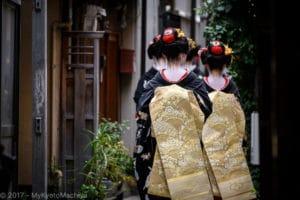 Geiko and Maiko walking down the street