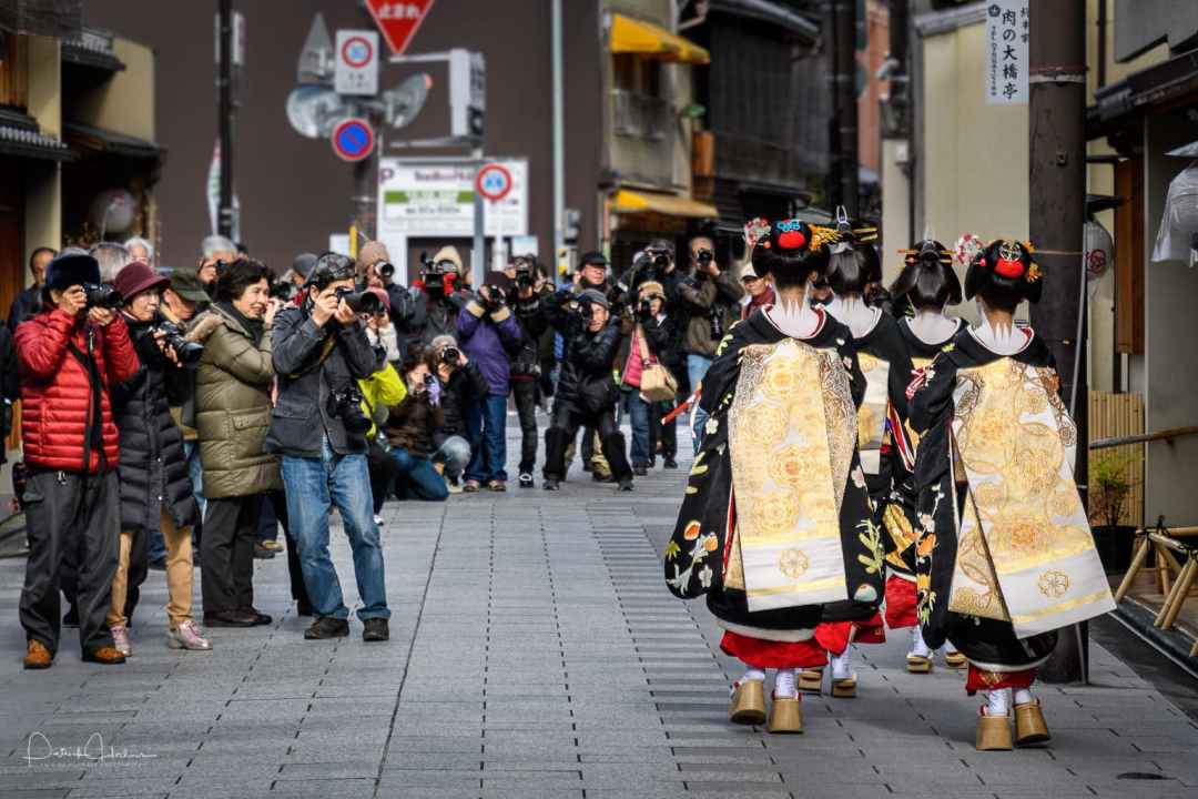 A group of Geiko and Maiko walking down the street at the beginning of the year