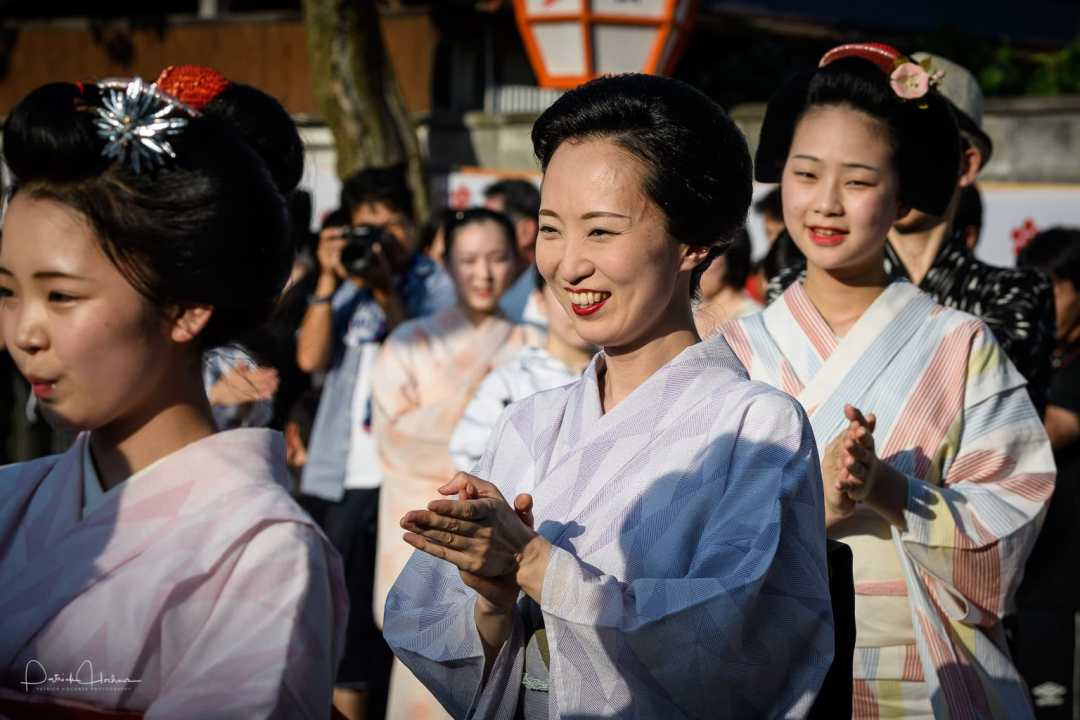 Kamishichiken  maiko and geiko dancing for the Tanabata Bon Odori Event