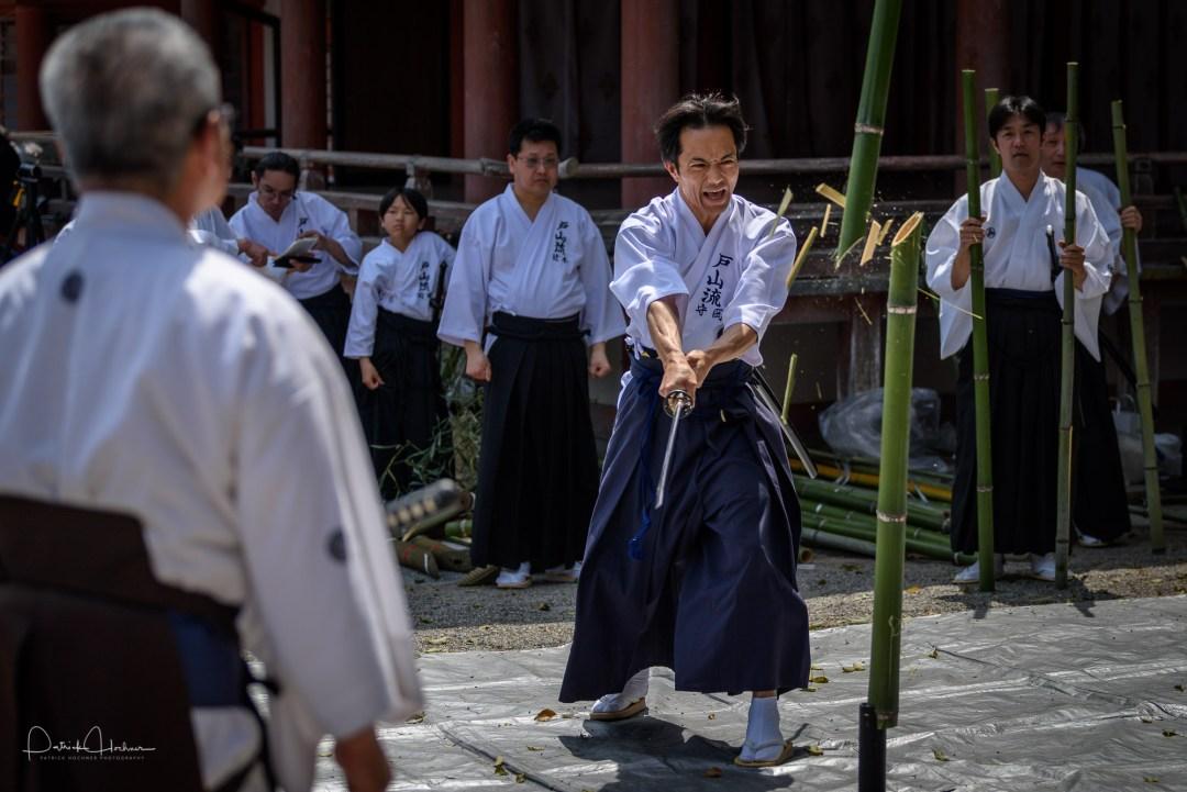Martial Art demonstration at Hachimangu Shrine, Kyoto