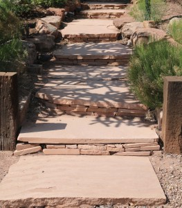 Entry walkway to one of the homes on the Placitas garden tour, I love the detail of the stacked flagstone in these steps.