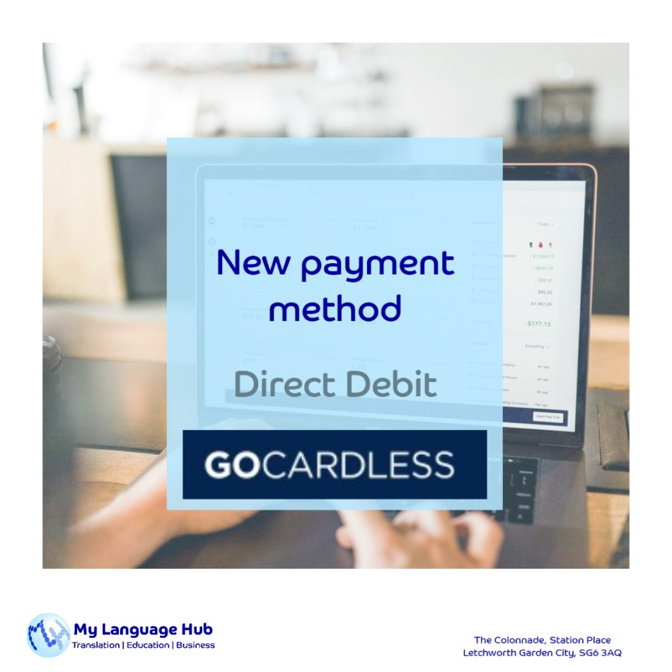 My Language Hub introduces Direct Debit with GoCardless as the preferred payment method.