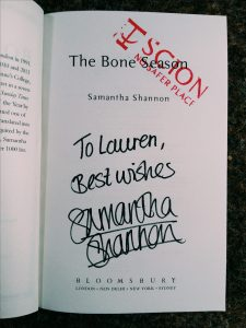 samntha shannon, signed, signature, mylavendertintedworld, waterstone sheffield, sheffield