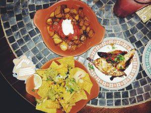 patatas bravas, nachos, chicken skewers, tapas, revolucion de cuba, mylavendertintedworld