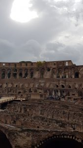 An inside view of the Colosseum, showing the reconstructed Arena floor and the maze basement beneath