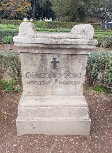 The tombstone of Giacomo Boni, the first person to start excavating the area around the Roman Forum