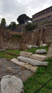 Partial ruins in the Roman forum at the bottom of the Palantine Hill.
