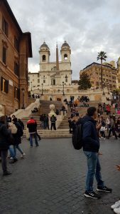 The Spanish Steps in Rome at the Piazza di Spagna surrounded by tourists