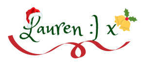 "The blogmas/Christmas edition of the signature for My Lavender Tinted World. The signature says Lauren smiley face x in a dark green font. There is a ribbon underneath it was christmas bells above the ""x"" and a Christmas hat on the ""L"""