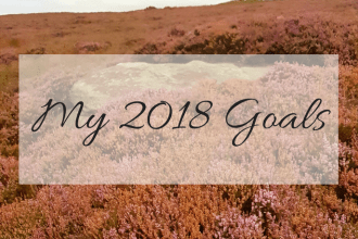 Photo of a heather field with My 2018 Goals overlaid on top