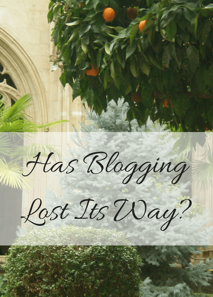 Has Blogging Lost Its Way title image. The text of the article title is overlaid on a picture of an orange tree in a courtyard in Salamanca. Photo taken by Lauren, owner of My Lavender Tinted World