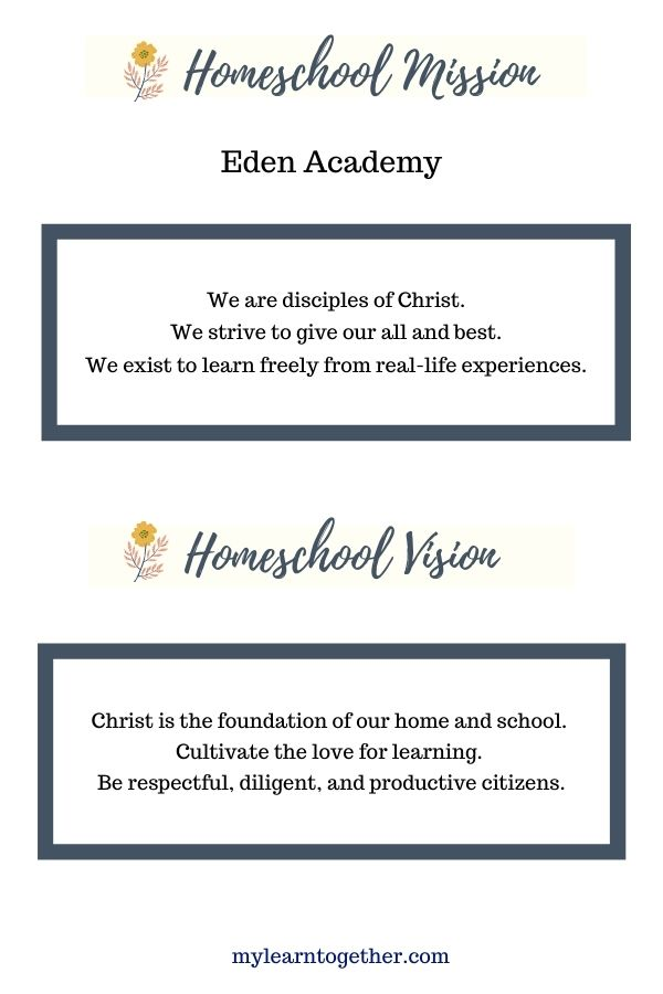 Homeschooler mission and vision statement example