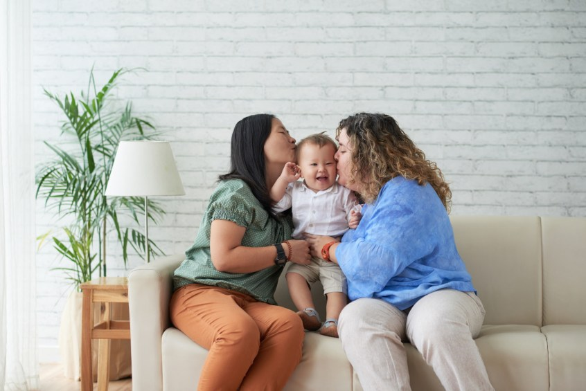 lgbtq step-parent adoption - two mothers with their son