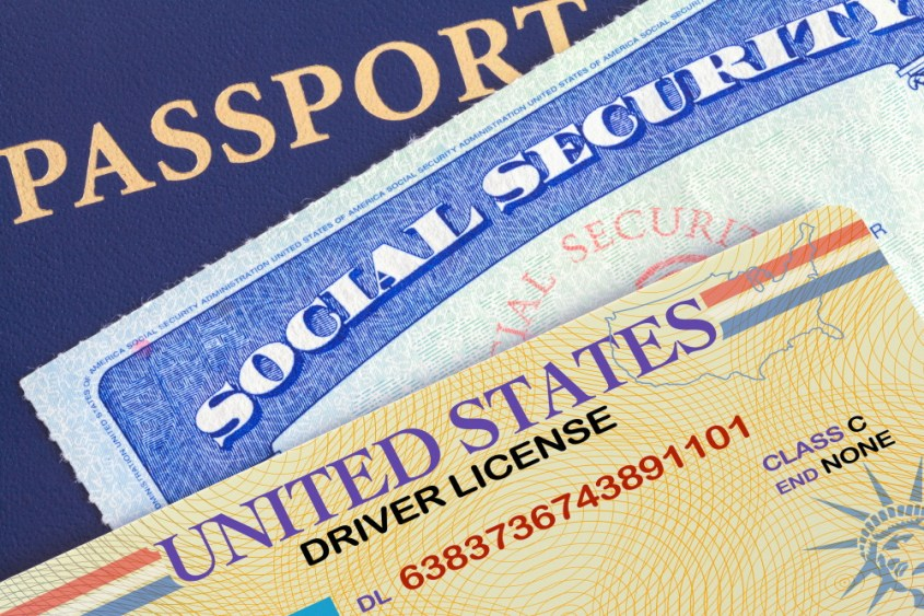 USA Passport with Social Security Card and Drivers License for legal name change
