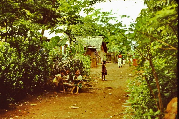 Barefoot but happy, children playing. Village in the south, Mauritius - 1983
