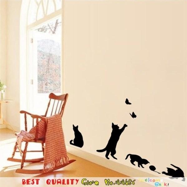 Наклейки на обои «Четыре кота». — Магазин стикеров и наклеек