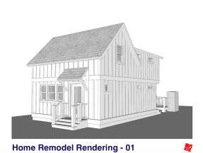 Small Home Renovation and Addition. Bengough Saskatchewan Canada-Right Front Exterior Elevations