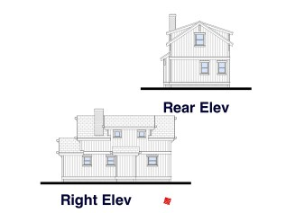 Country Cottage Home Design-Bluffton-Elevations-Right, Rear