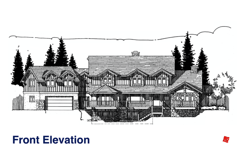 Myles Nelson McKenzie Design-Custom Home Design-Rustic Mountain, Park City, Utah-Front Elevation