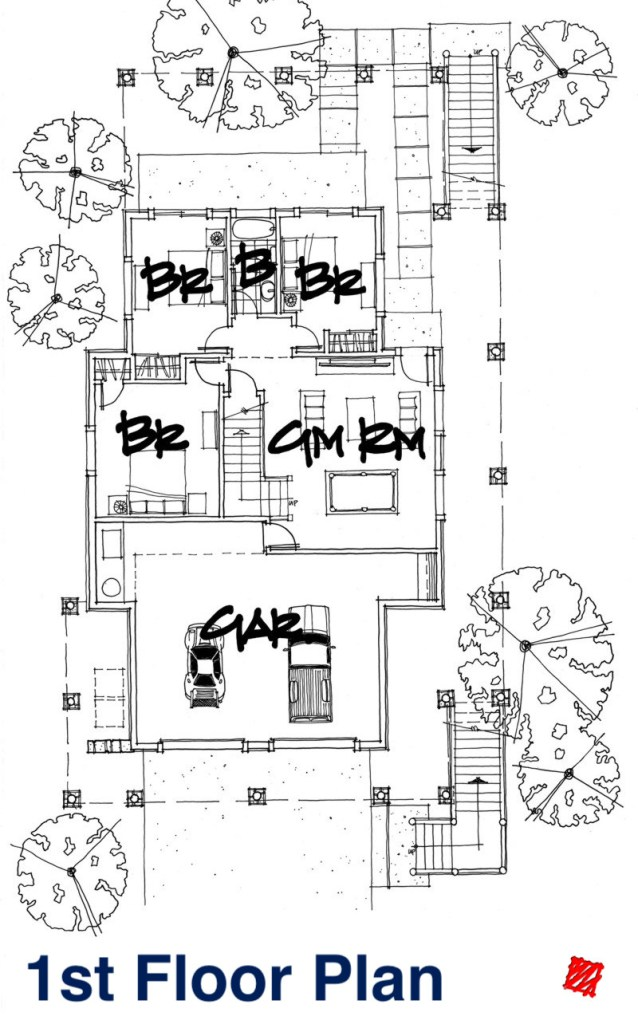 Myles Nelson McKenzie Design-Custom Square Log Mountain Home-Flagstaff AZ-1st Floor Plan