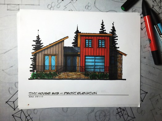 Myles Nelson McKenzie Design-Small House Design, Vacation Home-03 646 SF-Front Elevation