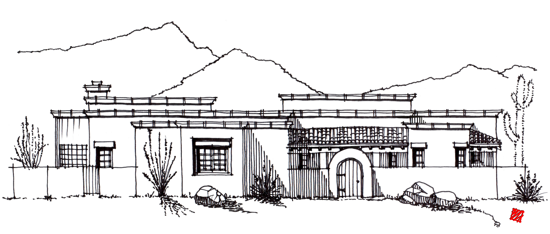Custom Desert Home Design-Front Elevation-Ranch Villa, Estrella Mountain Ranch Arizona