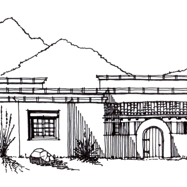 Concept Desert Home Design-Front Elevation-Ranch Villa, Estrella Mountain Ranch Arizona