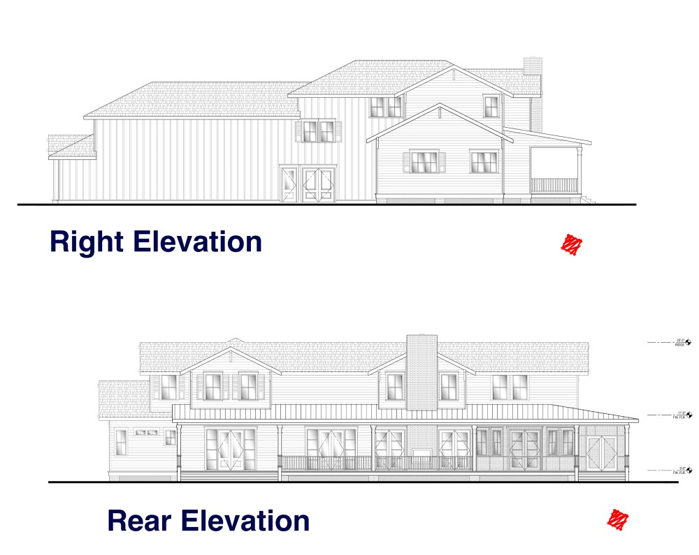 Rear and Right Elevation Plans for our Lowcountry Estate Home Design