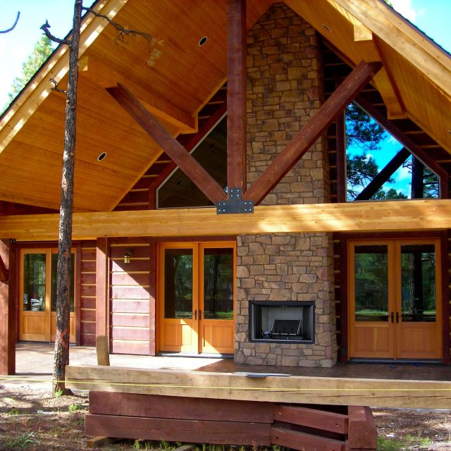 Myles Nelson McKenzie Design-Square Log Mountain Home Flagstaff Ranch-Forbes-Rear Elevation