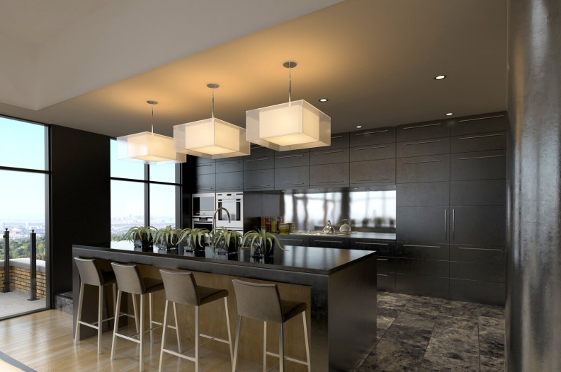 Custom Kitchen Design-Modern kitchen design with sleek flush face cabinets.