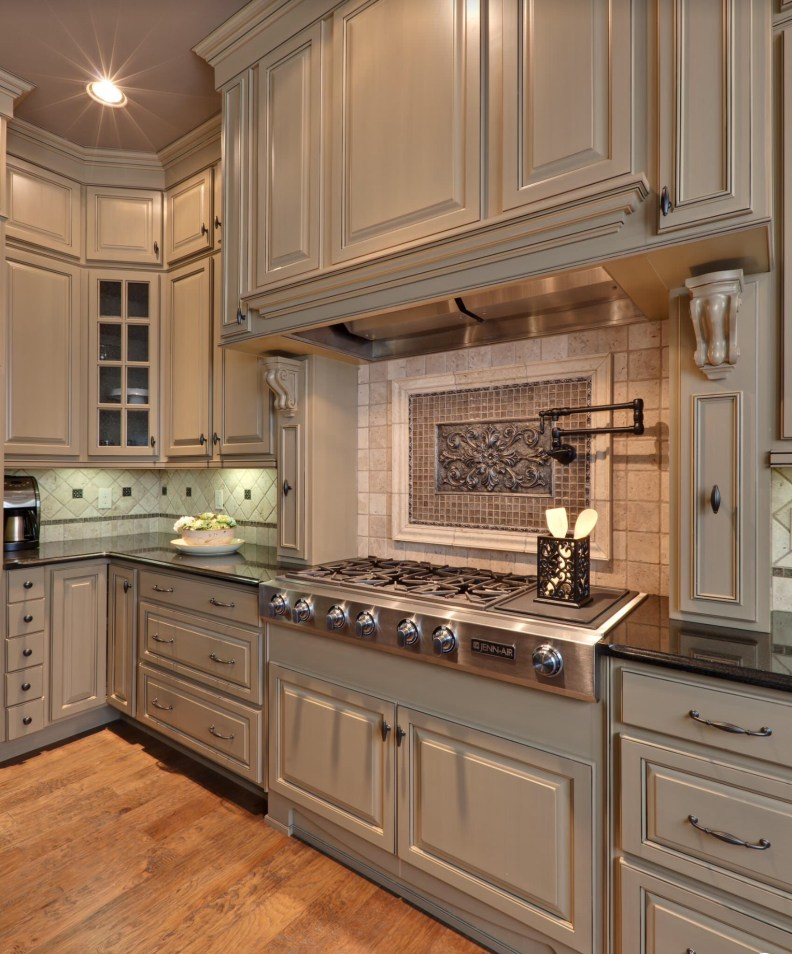 Custom Kitchen Design-Taupe Color Raised Panel Cabinets