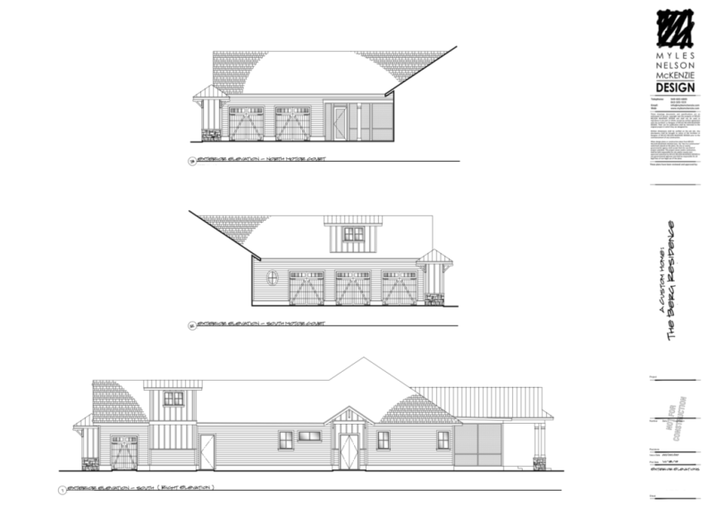 Right and Motorcourt Exterior Elevations.